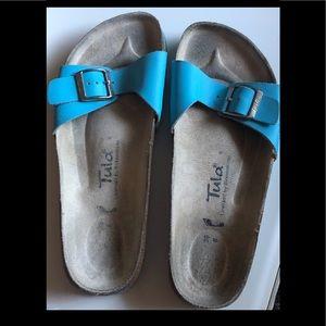 Birkenstock Tula aqua blue leather one strap 8 EUC